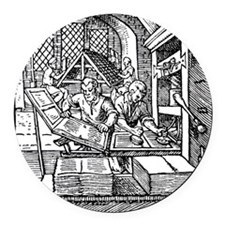 Printing press, 16th century Round Car Magnet