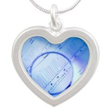 DNA analysis Silver Heart Necklace