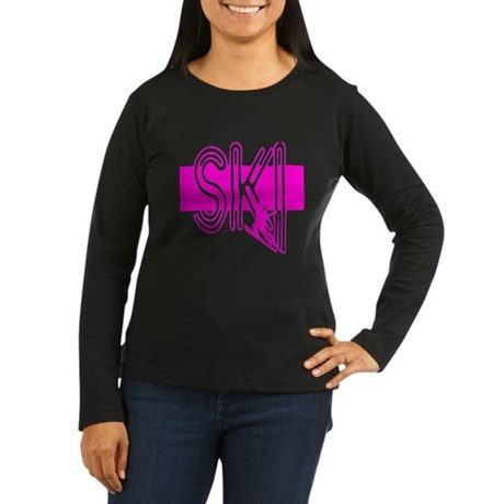 Ski Pink Women's Long Sleeve Dark T-Shirt