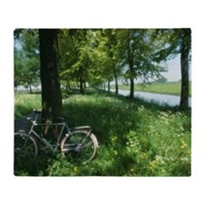 Bicycle leaning against oak tree Que Throw Blanket