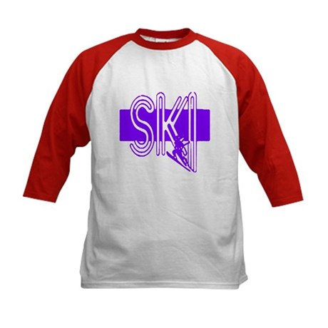 Ski Purple Kids Baseball Jersey