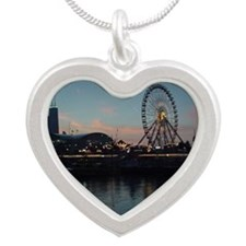 John Hancock Center from Lak Silver Heart Necklace