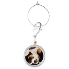 Bernese Mountain Dog Berner Senne Round Wine Charm