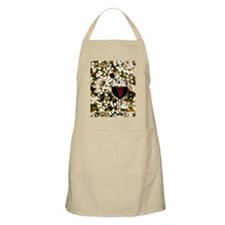 Red wine in wine glass with white twinkle li Apron