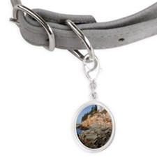 Lighthouse on rocks, Bass Harbo Small Oval Pet Tag