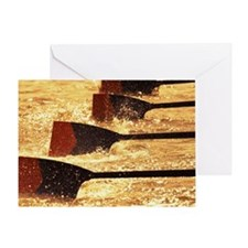 Oar blades from racing crew cutting  Greeting Card