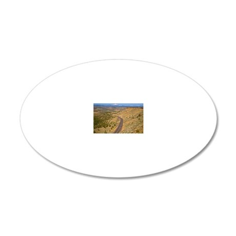 road with mount hood in the  20x12 Oval Wall Decal