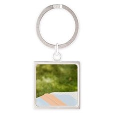 Wine glass and book on outdoor tab Square Keychain