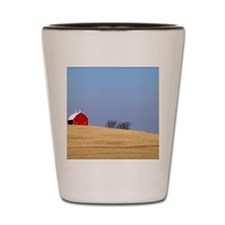 Beautiful rural landscape with a red ba Shot Glass