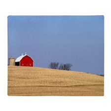 Beautiful rural landscape with a red Throw Blanket