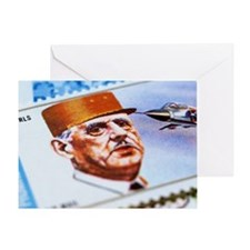 Charles de Gaulle on postage stamp Greeting Card