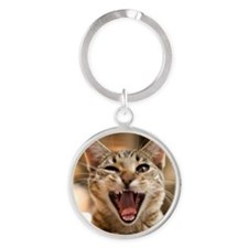 Close-up of domestic cat yawning an Round Keychain