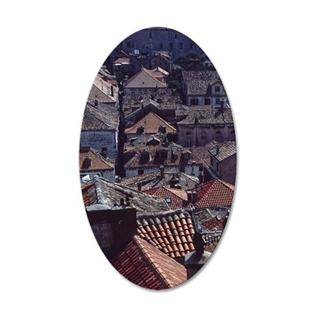 looking down on red shingled 35x21 Oval Wall Decal
