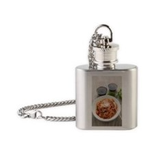 Spaghetti marinara with red wine Flask Necklace