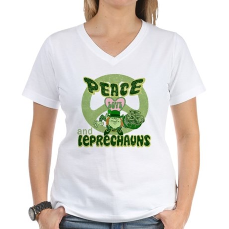 PEACE LOVE and LEPRECHAUNS Women's V-Neck T-Shirt