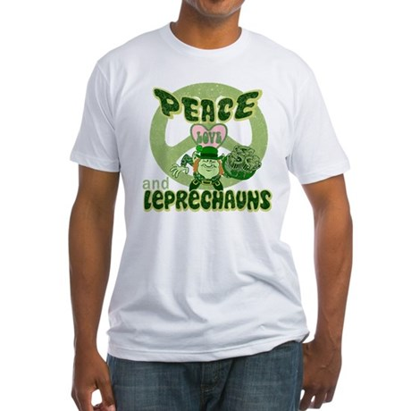 PEACE LOVE and LEPRECHAUNS Fitted T-Shirt