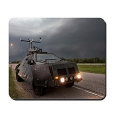 A storm chaser's armored vehicle (named  Mousepad