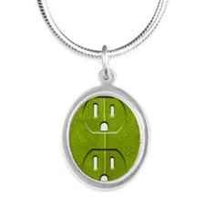 Electrical outlet indented in Silver Oval Necklace