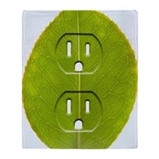 Electrical outlet indented in green  Throw Blanket