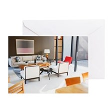 Coffee table and sofas in modern liv Greeting Card