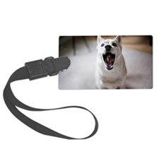 Dog catching food in mouth Luggage Tag