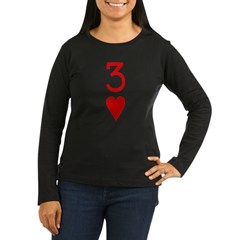 Three of Hearts Poker Women's Long Sleeve Dark T-S