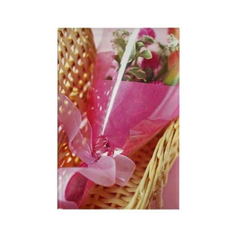 Flower bouquet in a basket, high Rectangle Magnet