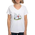 White Japanese Bantams Women's V-Neck T-Shirt