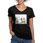 White Japanese Bantams Women's V-Neck Dark T-Shirt