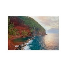 Sunrise at red sand beach in Hana Rectangle Magnet