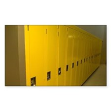 Row of yellow lockers in a hos Decal