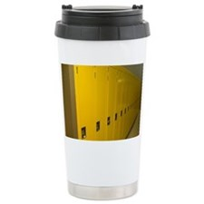 Row of yellow lockers in a hosp Ceramic Travel Mug