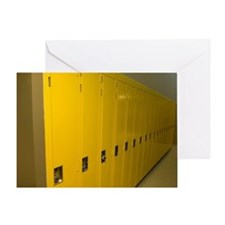 Row of yellow lockers in a hospital Greeting Card