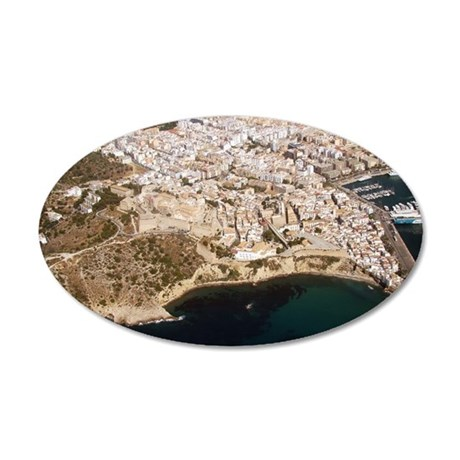 Aerial view of Ibiza, Spain. 35x21 Oval Wall Decal
