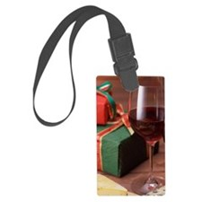 Two glasses of wine and cheese Luggage Tag