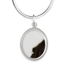 Newfoundland looking at camer Silver Oval Necklace