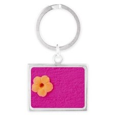 Flower head on pink wall Landscape Keychain