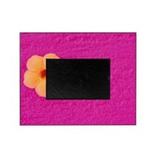 Flower head on pink wall Picture Frame