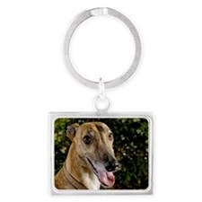 Greyhound dog outdoors Landscape Keychain