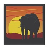 Elephant Coaster (Tile): Elephant at Sunset