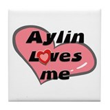 aylin loves me  Tile Coaster