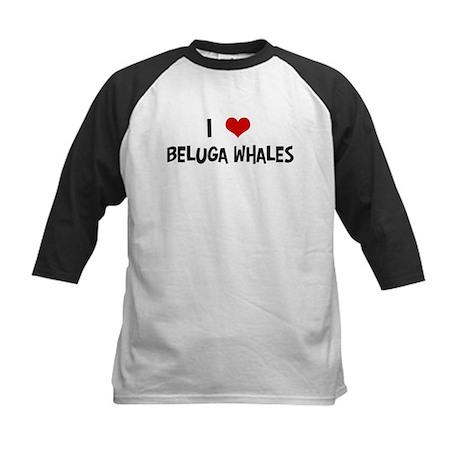 I Love Beluga Whales Kids Baseball Jersey
