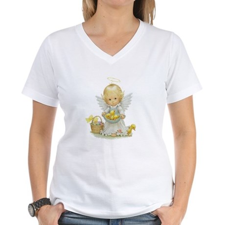 Easter Angel Women's V-Neck T-Shirt