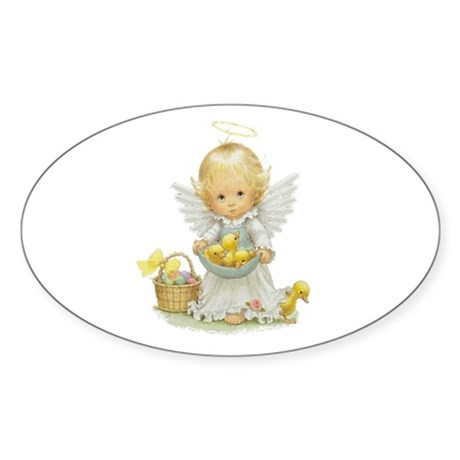 Easter Angel Oval Sticker