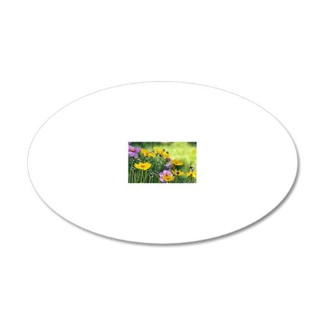 Cosmos flower field 20x12 Oval Wall Decal