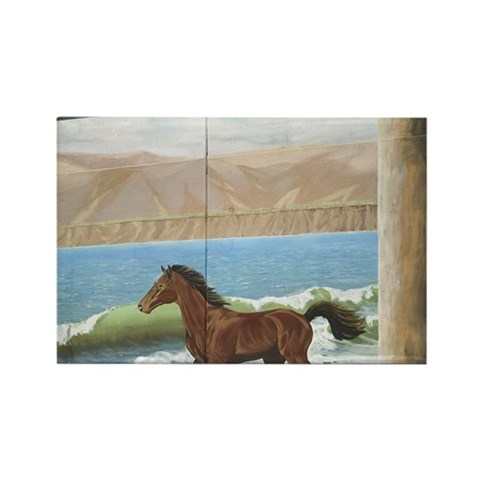 Mural on building of horse running in surf Magnet