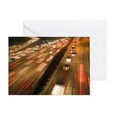 Rush hour traffic on Harbor Freeway, Greeting Card