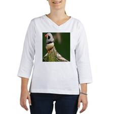 Close up of Zebra Finch  on bra Women's Long Sleeve Shirt (3/4 Sleeve)