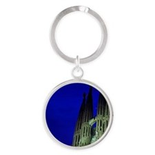 Building at night Round Keychain