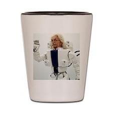 Robot Albert Einstein waving Shot Glass